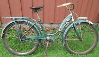 1948 Original Schwinn Girls Hornet? Bicycle Bike tank green white balloon tires