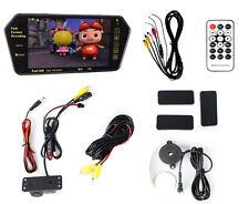 "7"" MP5 Bluetooth Rearview Mirror Monitor +2 in 1 Car Parking Radar Backup Camera"