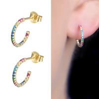 Solid 925 Sterling Silver Gold Eternity Rainbow CZ Turquoise Half Hoop Earrings