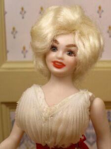 Porcelain Marilyn Monroe Doll in Ivory Dress REPAIRED Artist Dollhouse Miniature