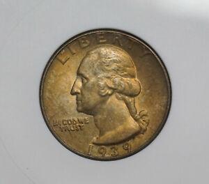 1939 WASHINGTON QUARTER ANACS MS63 1244014 - OLD HOLDER - TONED