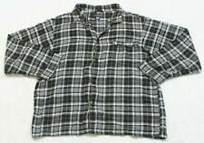 Knightsbridge Pajama Shirt Long Sleeve Black Gray & White Cotton Pocket Mens Man