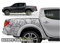 Mitsubishi L200 024 grunge skulls stickers decals graphics rear tub side