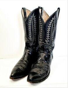 DAN POST Black Teju Lizard Leather Cowboy Boots Men's 9.5E 6830 USA