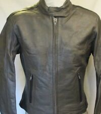Womens GREY Leather Motorcycle Biker Jacket Z/O lining Size Medium
