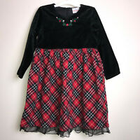 Hanna Andersson Holiday Black Velvet Bodice Tartan Plaid Dress Girls 110cm 4 5 6