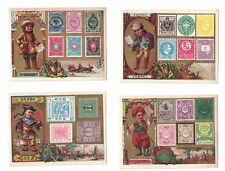 11 Nations Mailmen Victorian Trade Cards Postage Stamps Ethnic Costumes