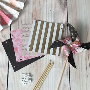 Paper Pinwheel kit wedding table decorations Paris France Gold pink black