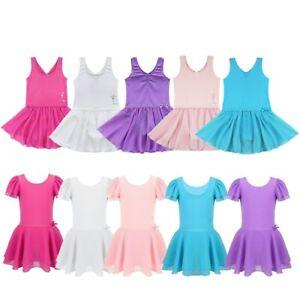 Kids Girls Leotards Dress Ballet Dancing Gymnastics Party Ballerina Tutu Skirts