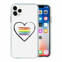 For Apple iPhone 11 PRO MAX Silicone Case LGBT Rainbow Heart - S850