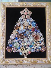 Vintage Jewelry Framed CHRISTMAS TREE *PEACH & GOLD Star*  Basket of Daisies