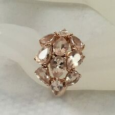 Beautiful - Morganite 925 Sterling Silver Rose Gold Plated Ring - 4.37 carats