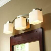 Hampton Bay 3-Light Brushed Nickel Vanity Light with Etched White Glass Shades