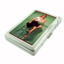 Pin Up Retro Ice Cream Funny D 102 Cigarette Case Built in Lighter Metal Wallet