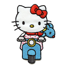 Hello Kitty Riding Blue Scooter Iron On Embroidered Patch