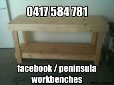 Custom Made Heavy Duty Timber Work Bench Table 1200 x 630 x 900