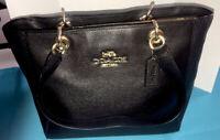 Coach Black Polished Pebble Leather Handbag Shoulder Bag Satchel Gold Logo New