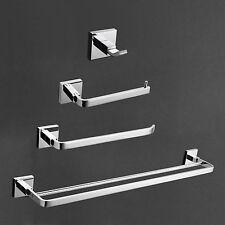 Contemporary Wall Mounted Brass Chrome Finish 4 Piece Bath Bathroom Accessory
