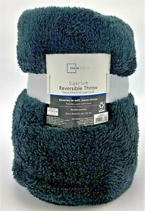 Mainstays Super Soft Reversible Sherpa Throw Blanket - 50 x 60 - Navy Blue Gray