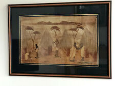 "FRAMED VINTAGE AFRICAN FOLK ART WALL HANGING VILLAGERS & HUTS SCENE-22"" x15.5"""