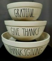 NWT Rae Dunn Mixing Bowl Set THANKSGIVING GIVE THANKS GRATEFUL  Holiday Set of 3