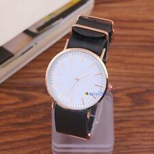 Fashion Casual Men's Women's Leather Stainless Steel Quartz Wrist Watch New A M