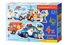 Castorland B-04393 4x Puzzle Rescue Service Rettungsdienst Kinderpuzzle 22 Teile