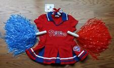 CHEERLEADER OUTFIT HALLOWEEN COSTUME PHILLIES CUTE CHEER DRESS POM POMS BOW 2T