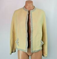 VTG 60s Evening Blazer Jacket Ivory Silver Open Front Tricosa Paris Bridal Tweed