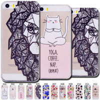 Fashion Retro Clear TPU Case Cover Silicone Back Skin For Apple iPhone SE/5/5S