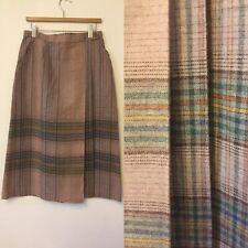 Vintage Dusky Pink Stripe Wrap Skirt Size 8 Pockets 1970s