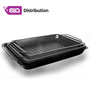 New 3 Roasting Trays With Racks - Non Stick Oven And Grill Cooling Racks