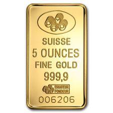 5 oz Pamp Suisse Gold Bar - Lady Fortuna - Assay Card - SKU #59448