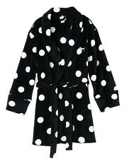 Victorias Secret PINK Robe Cozy Plush Fleece Polka Dot Black XS S NWT