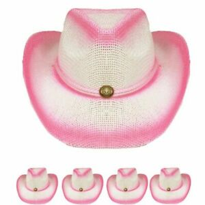 KIDS PINK OMBRE Cowboy Hat Girls Summer SHAPEABLE Beach WESTERN Cowgirl