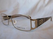 VERSACE EYEGLASS FRAME VE1163B 1221 PLATINUM BROWN HORN STONES 52 MM NEW AUTHENT