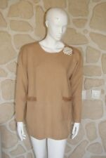 Pull marron neuf taille L/XL avec laine et cachemire marque Tricotonic (bl)