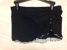 Profile by Gotex Ruffle Skirted Bikini Bottom 8 Black E453-1P92  NWT