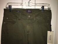 NWT NYDJ Alina topiary green ankle jeans pants size 4p retail $114 fray hem