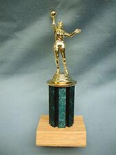female basketball trophy teal color wood base