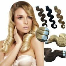 40g Seamless Body Wavy Curly PU Skin Weft tape in remy human hair extensions
