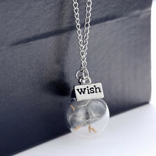 Women Fashion Lucky Real Dandelion Seeds Glass Wishing Bottle Pendant Necklace