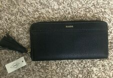 Fossil Black Cow Hide Leather Tara Clutch Wallet with Tassel NWT