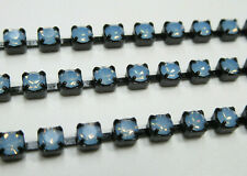 3mm Blue Opal Rhinestone Cup Chain in Black Setting Czech Crystals Choose Length