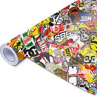 Stickerbomb Auto-Folie NEU 30x150cm mit Luftkanälen,3D Wrapping, Blasenfrei JDM