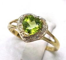 SYJEWELLERY 9CT YELLOW GOLD NATURAL HEART CUT PERIDOT & DIAMOND RING SIZEN R1062