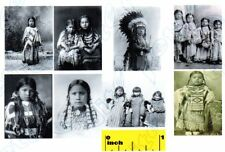 8 Miniature Vintage Native American Indian Children Prints - Dollhouse 1:12
