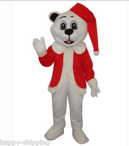 New High quality Polar Bear Mascot Costume Christmas Party Dress surprise Gift