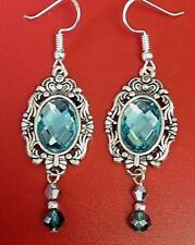 Blue Crystals victorian dangle earrings 925 Sterling Silver Ear Wires Aqua