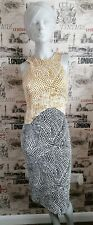 H&M Gold?Black Print Bodycon Midi Dress Size S 8 UK  xmas?night out